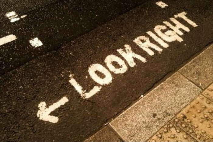 Look right road marking