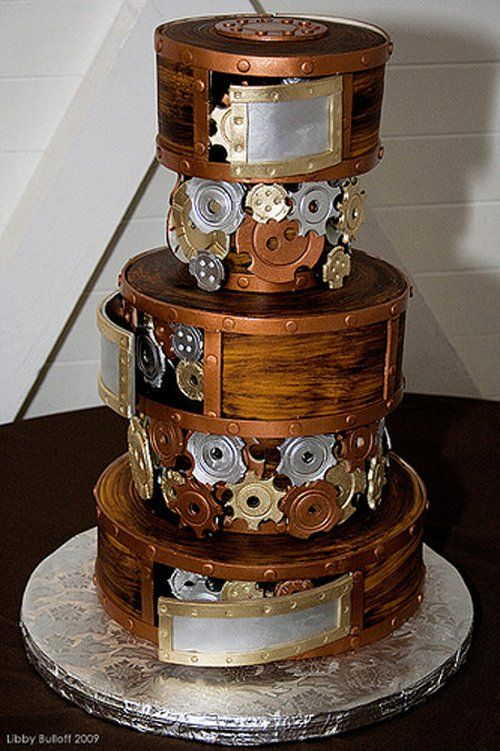 boxes with gears cake