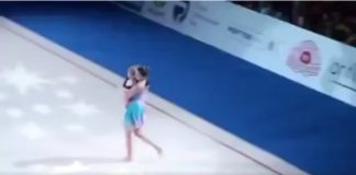 Mom and little daughter dancing together in Ukrainian