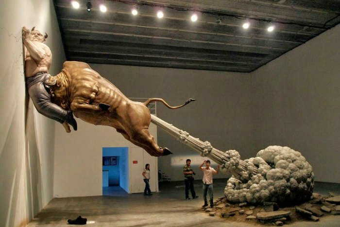 Golden Bull Fart Sculpture