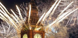 London Big Ban Tower Clock New Years Eve 2017