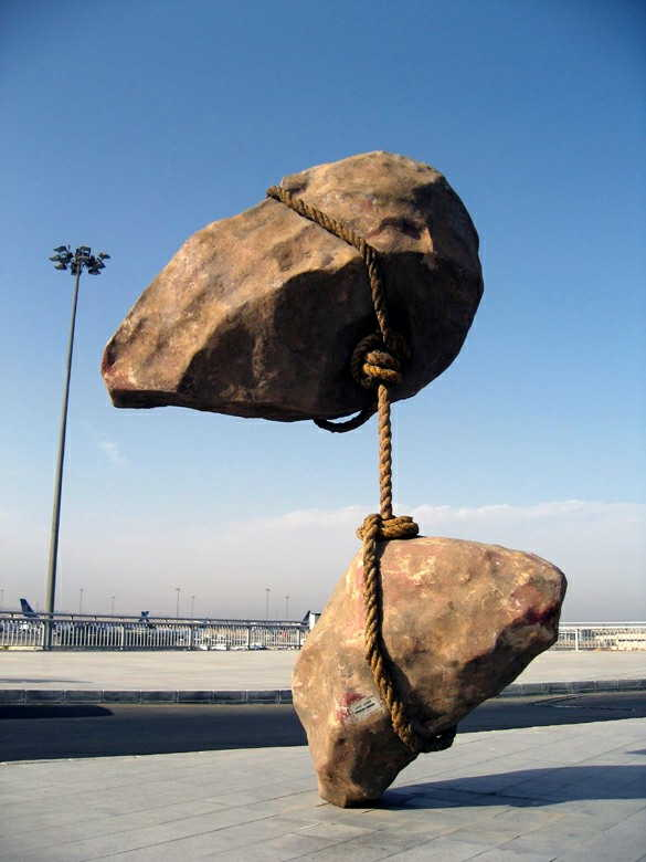 Rocks sculpture at Cairo airport - Egypt