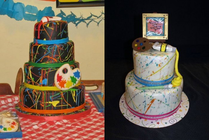 abstract painting inspired cake