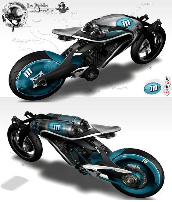 blue futuristic bike