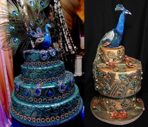 Blue Peacock Ornate Cake
