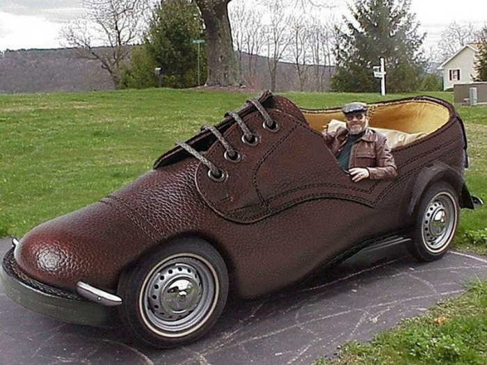 brown leather shoe car