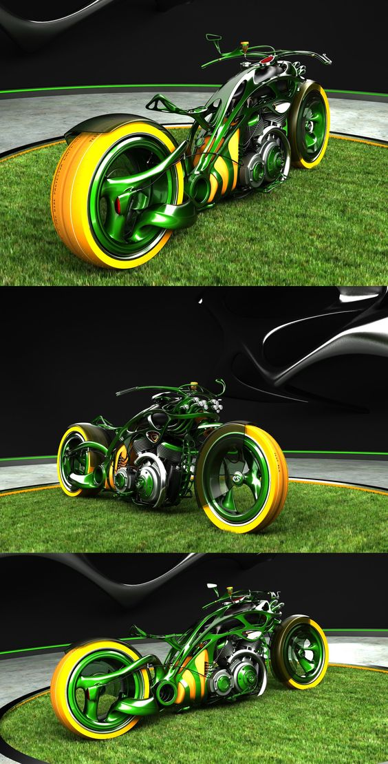insect looking green motorbike