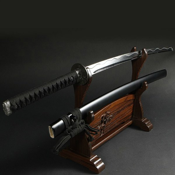 katana with wooden stand