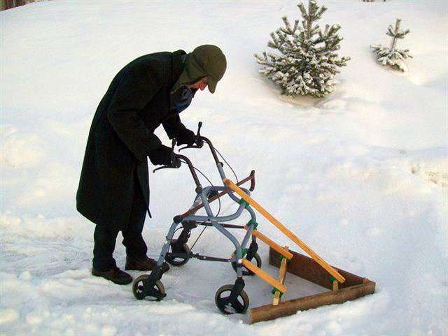 Old Man With Walker Snowplow