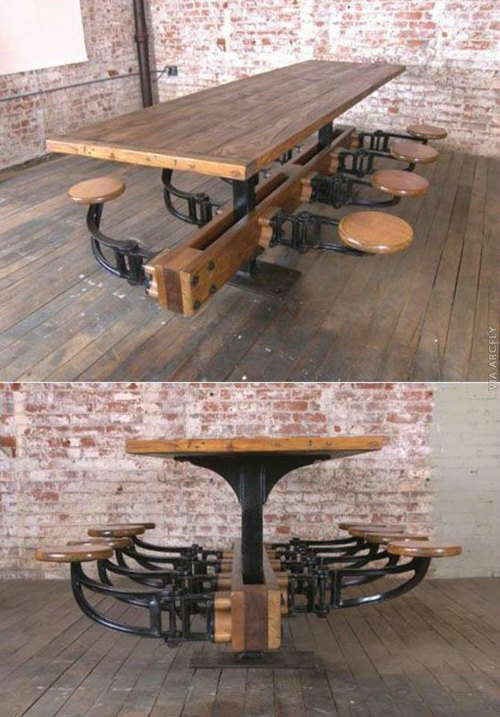 Table W Swing Arm Stools-swing out Seat
