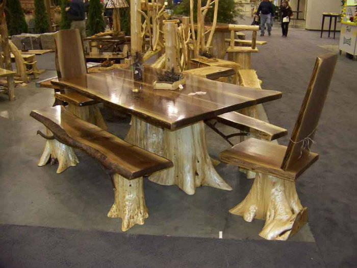 Rrustic log table and chair set