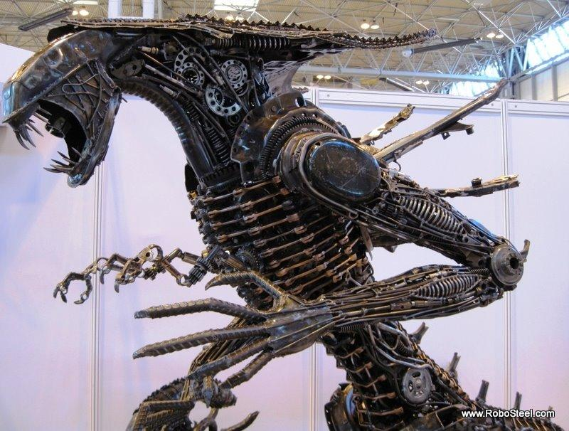 alien queen metal sculpture