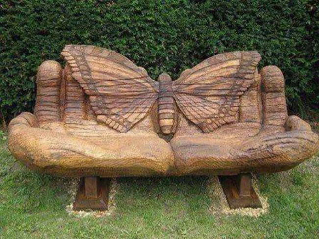 butterfly on hands wooden bench