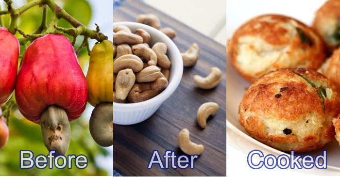 cashew before after cooked