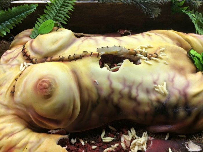 dead body with worms cake