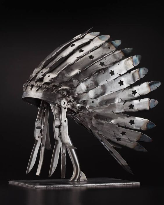 feathered war bonnet metal sculpture