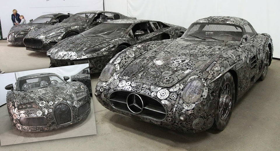 life-size supercars scrap metal sculptures