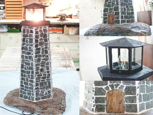 lighthouse lamp from natural stone featured