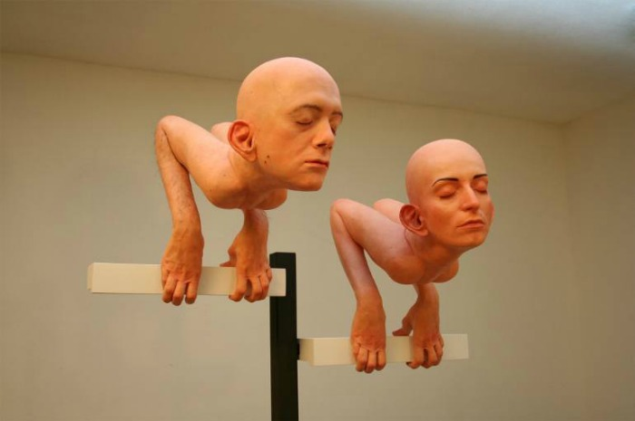 migrants self portrait sculpture