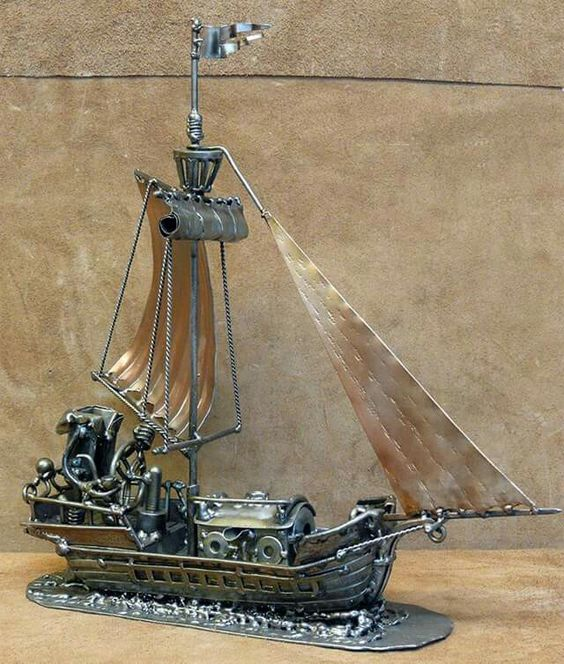 old ship metal sculpture