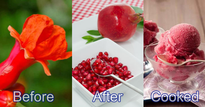 pomegranate before-after-cooked