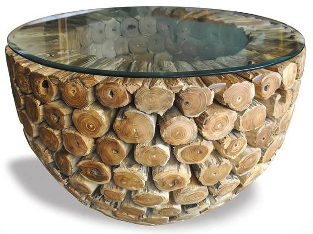 round glass and rustic logs coffee table