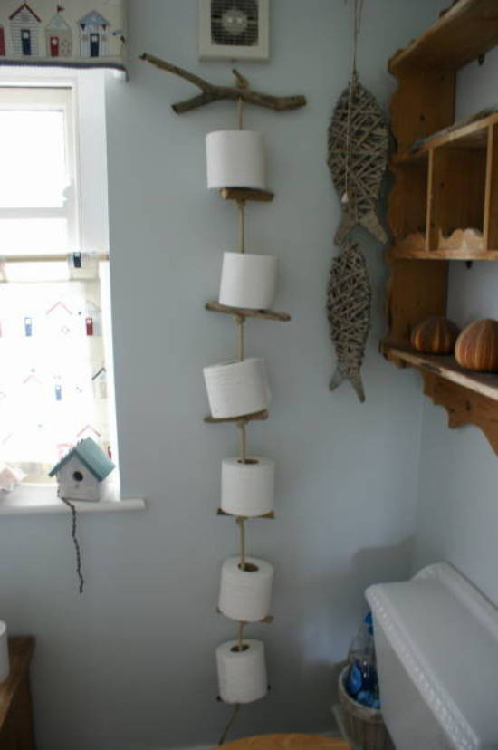 rustic wood rope toilet roll holder