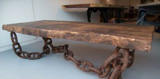 rusty iron chain stool legs