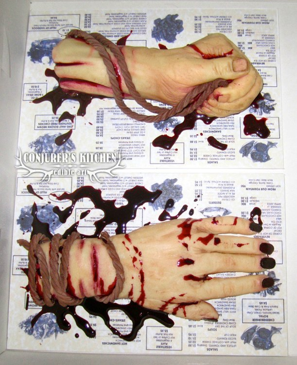 tied bloody hands cake
