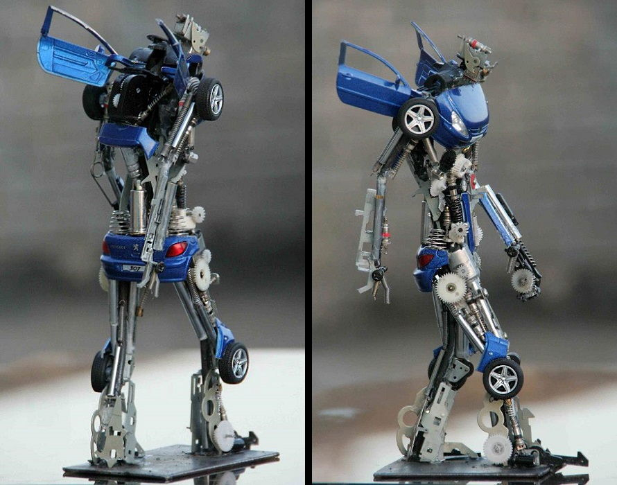 transformer robot metal sculpture