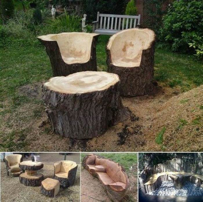 tree trunk garden furniture