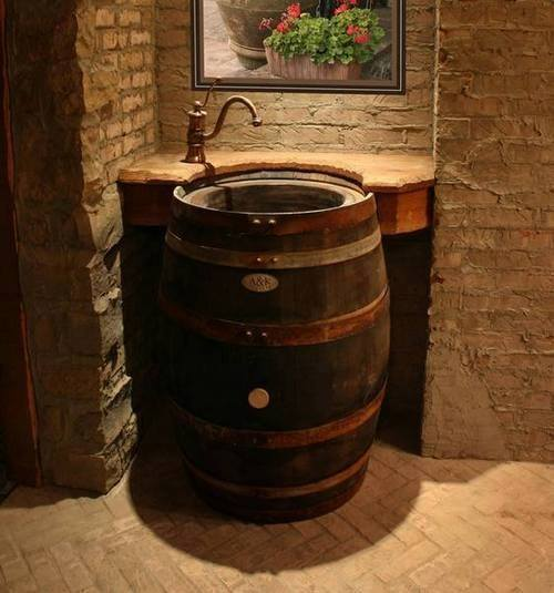 whisky barrel sink
