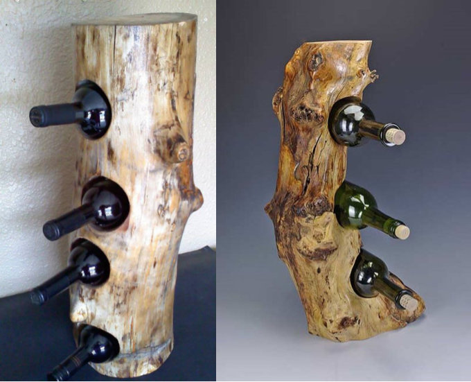 wine bottle rack log - floor standing