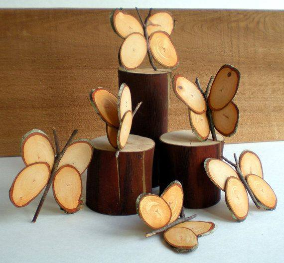 wooden log butterfly ornaments