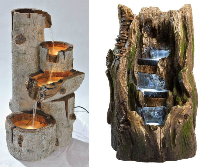 wooden trunk fountain water feature