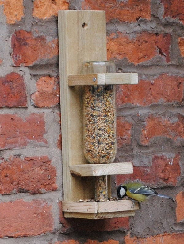 wooden wall mounted bird feeder