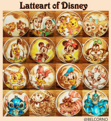 disney latte art collection