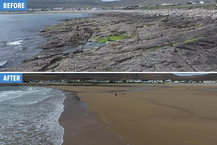 dooagh beach achill island before and after
