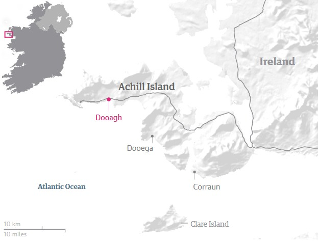 dooagh beach achill island ireland map
