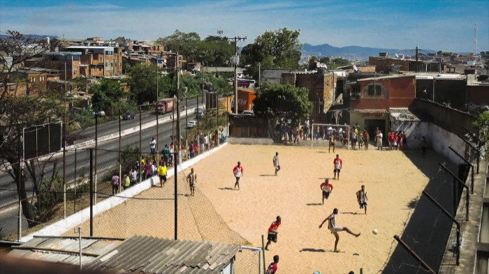 pitch in the favela soccer field in the slum
