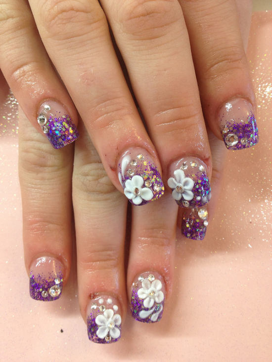 10 floral nail art ideas to make your hands more charming and sensual 3d flower nail art prinsesfo Choice Image