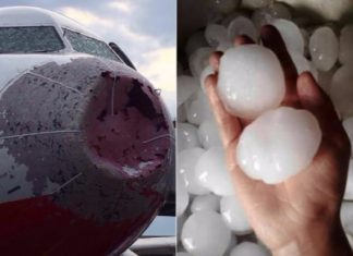airplane and hailstone in turkey