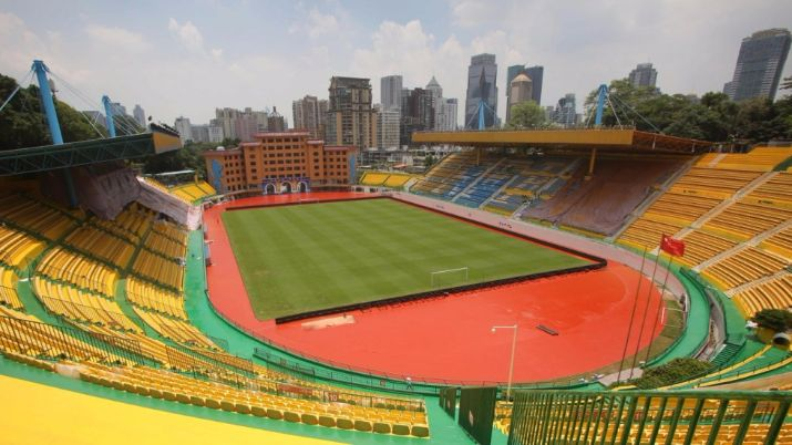 chinese football club paints gold stadium