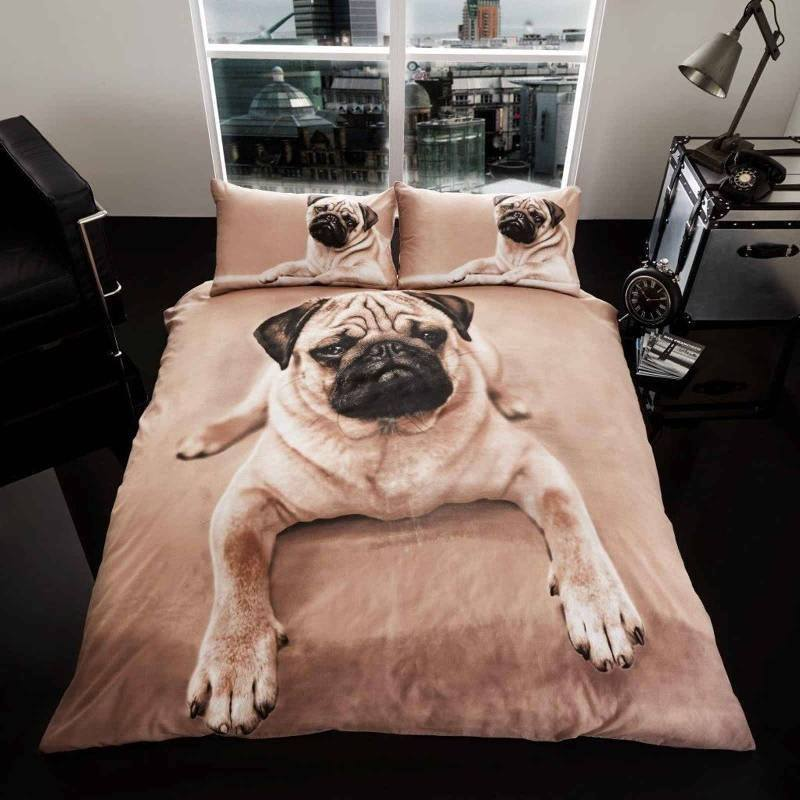 crouching pug duvet cover