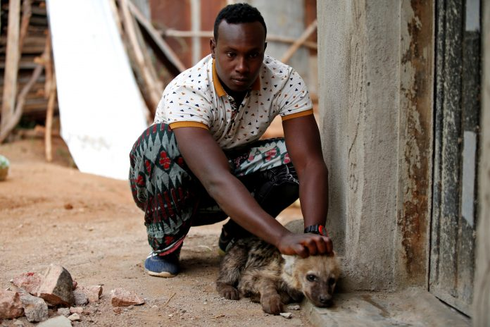 abbas yusuf with puppy hyena