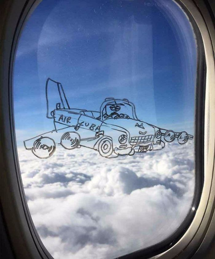 airplane drawing plane window