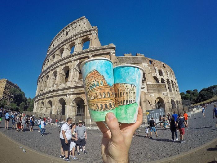 colosseum painting paper glasses