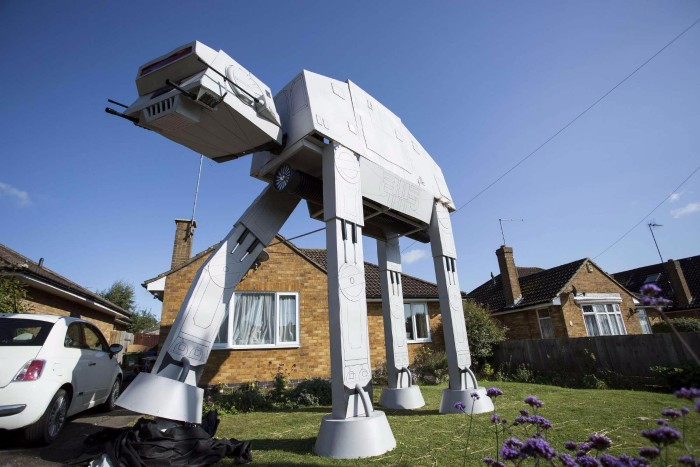 giant star wars at-at walker garden