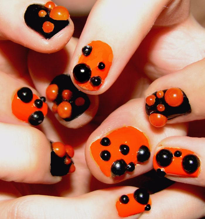 halloween bubble 3d nail art