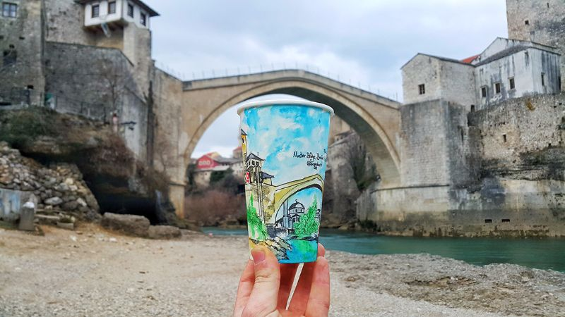 mostar painting paper glasses